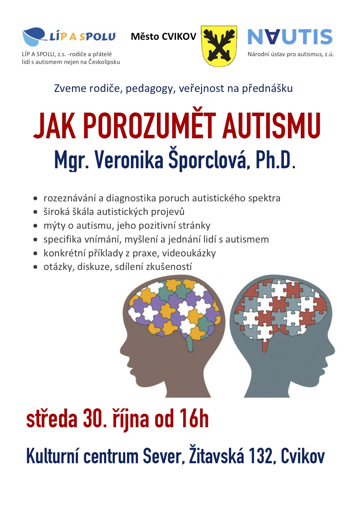 Jak porozumět autismu @ Kulturní centrum Sever