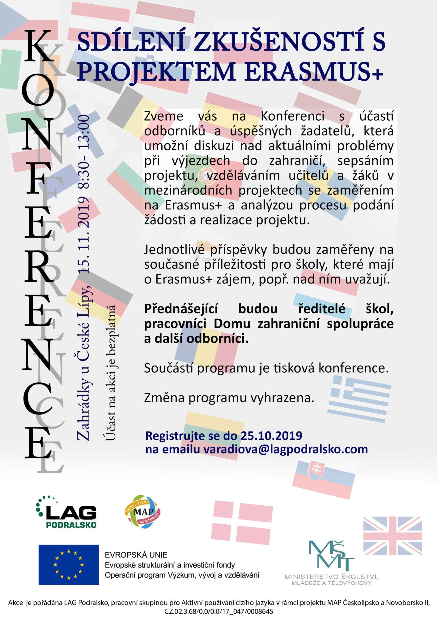 KONFERENCE - Sdílení zkušeností s projektem Erasmus+ @ Zahrádky u České Lípy